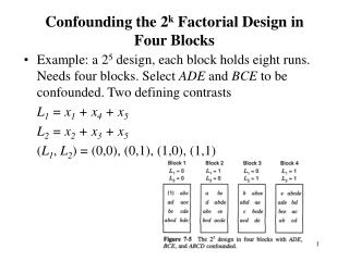 Example: a 2 5  design, each block holds eight runs. Needs four blocks. Select  ADE  and  BCE  to be confounded. Two de