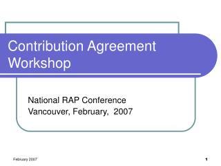 Contribution Agreement Workshop