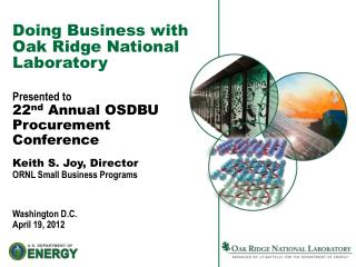 Doing Business with Oak Ridge National  Laboratory