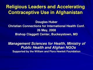 Religious Leaders and Accelerating Contraceptive Use in Afghanistan
