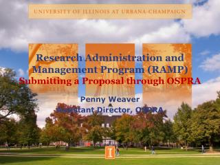 Research Administration and Management Program (RAMP) Submitting a Proposal through OSPRA