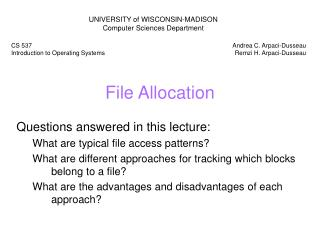 File Allocation