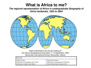 What is Africa to me? The regional representation of Africa in undergraduate Geography of Africa textbooks, 1953 to 200