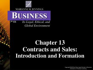 Chapter 13 Contracts and Sales: Introduction and Formation