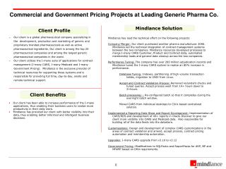 Commercial and Government Pricing Projects at Leading Generic Pharma Co.