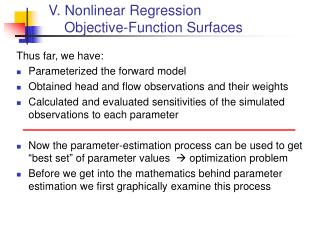 V. Nonlinear Regression     Objective-Function Surfaces