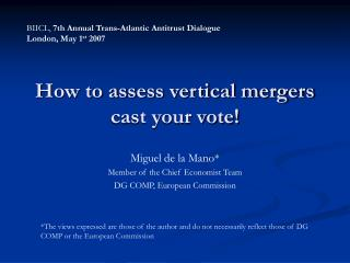 How to assess vertical mergers cast your vote!