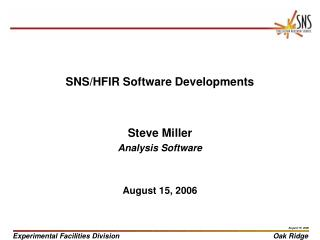 SNS/HFIR Software Developments