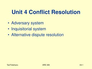 Unit 4 Conflict Resolution