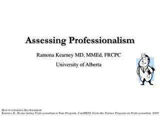 Assessing Professionalism