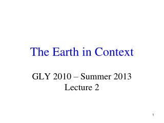 The Earth in Context