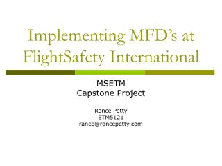 Implementing MFD's at FlightSafety International