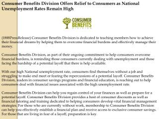 Consumer Benefits Division Offers Relief to Consumers
