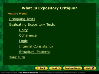 What Is Expository Critique?