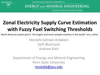 Zonal Electricity Supply Curve Estimation with Fuzzy Fuel Switching Thresholds
