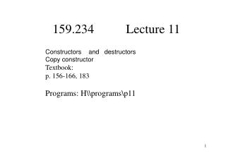 159.234          Lecture 11
