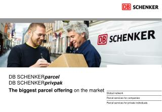 DB SCHENKER parcel DB SCHENKER privpak The biggest parcel offering  on the market