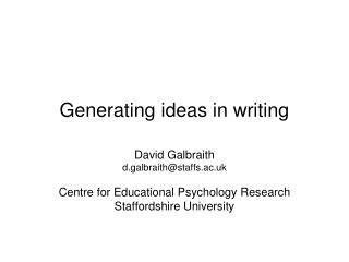 Generating ideas in writing