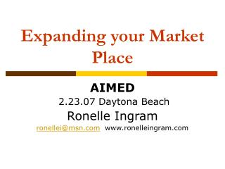 Expanding your Market Place