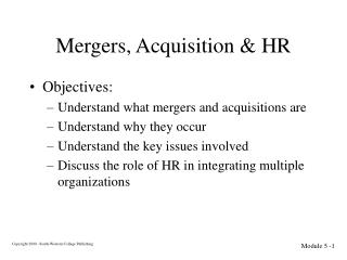 Mergers, Acquisition & HR