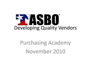 Developing Quality Vendors