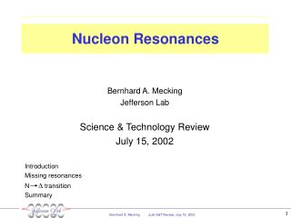 Nucleon Resonances