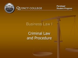Business Law I Criminal Law and Procedure
