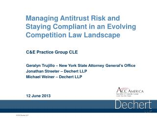 Managing Antitrust Risk and Staying Compliant in an Evolving Competition Law Landscape