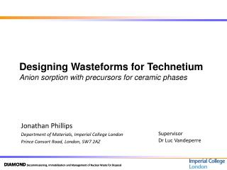 Designing Wasteforms for Technetium Anion sorption with precursors for ceramic phases