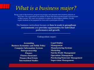 What is a business major?