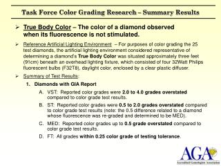 Task Force Color Grading Research – Summary Results