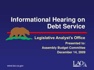 Informational Hearing on Debt Service