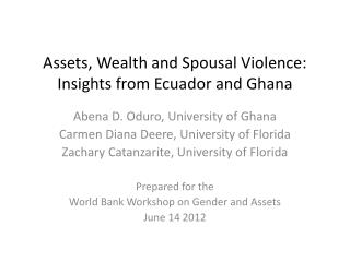 Assets, Wealth and Spousal Violence: Insights from Ecuador and Ghana