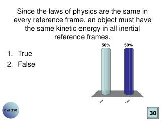 Since the laws of physics are the same in every reference frame, an object must have the same kinetic energy in all ine