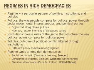 Regimes in rich democracies