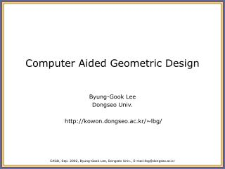 Computer Aided Geometric Design