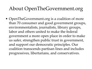About OpenTheGovernment.org