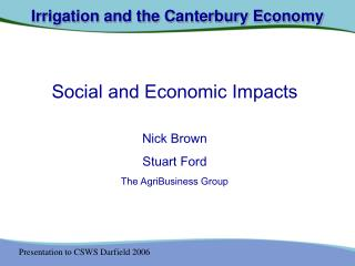 Irrigation and the Canterbury Economy