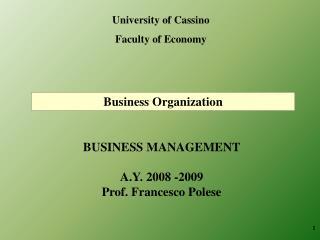 University of Cassino Faculty of Economy