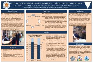 Recruiting a representative patient population in a busy Emergency Department