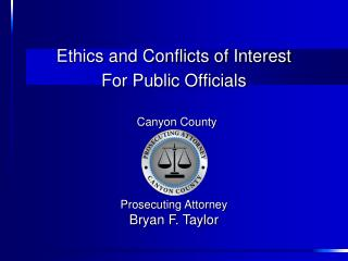 Ethics and Conflicts of Interest For Public Officials