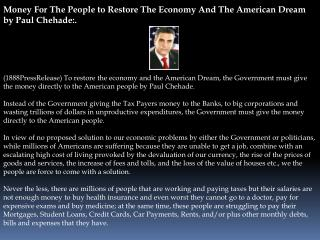 Money For The People to Restore The Economy And The American
