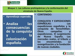 Bloque 1. Las culturas prehispánicas y la conformación del virreinato de Nueva España.