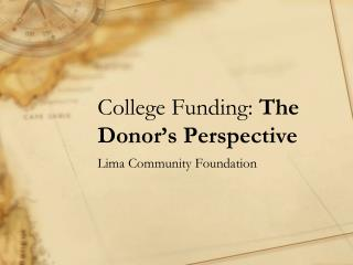 College Funding:  The Donor's Perspective