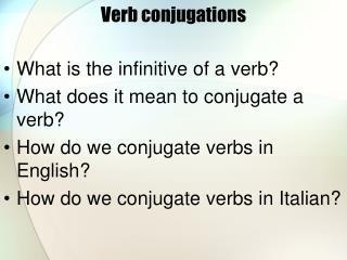 Verb conjugations