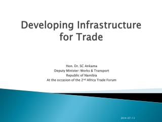 Developing Infrastructure for Trade