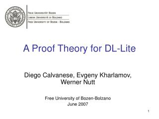 A Proof Theory for DL-Lite