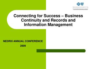 Connecting for Success – Business Continuity and Records and Information Management