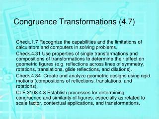 Congruence Transformations (4.7)