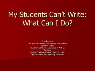 My Students Can't Write:  What Can I Do?